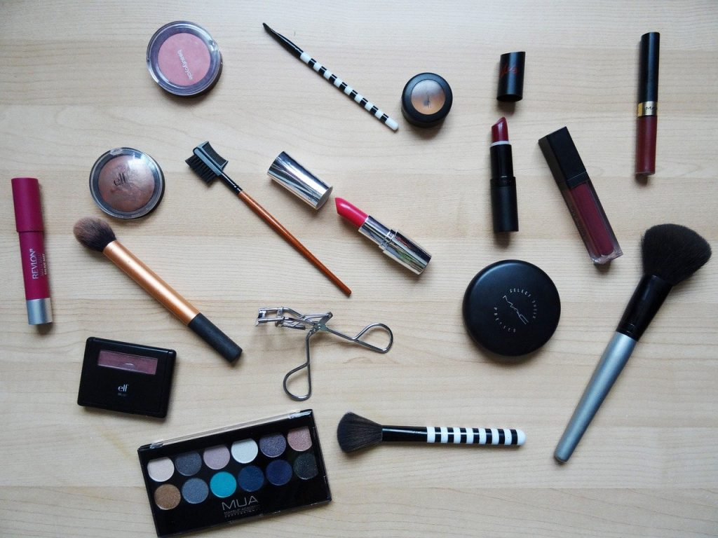 makeup scattered on a table