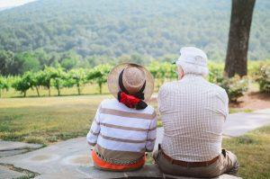 couple enjoying wine vineyard